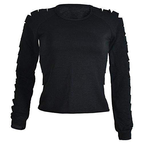 Femmes Chemises à Manches Longues Club Blouse Col Rond Creux Slim Chemisier Noir