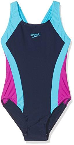 Speedo Mädchen Kontrast Panel Splashback Badeanzug, Mädchen, Contrast Panel Splashback, Blau (Navy/Turquoise/Diva), 30