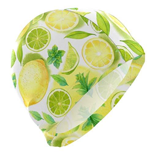 Gebrb Badekappe/Schwimmkappe/Bademütze, Swim Cap Fruit Yellow Lemon Pattern Swimming Cap for Men Boys Adult Teen Swimming Hat No-Slip