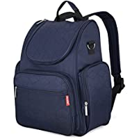 DCCN Nappy Changing Backpack Travel Bag for Mom/Dad Diaper Backpack with Cushioned Changing Pad Stroller Straps & Wet Clothes Organizer Bag Navy Blue/Pink