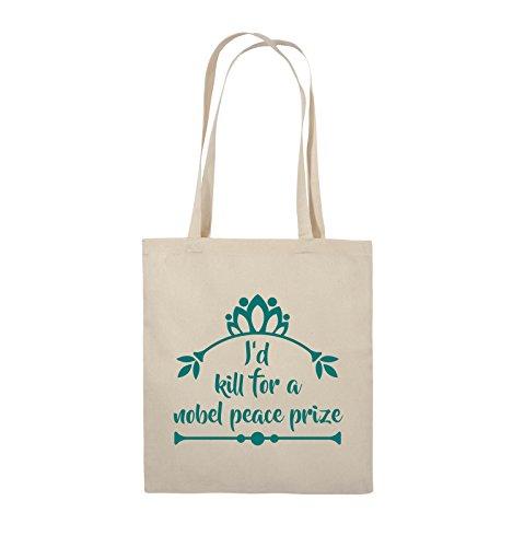 Comedy Bags - I'd kill for a nobel peace prize - Jutebeutel - lange Henkel - 38x42cm - Farbe: Schwarz / Silber Natural / Türkis