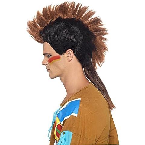 Indiano d'America parrucca irochese maschile taglio capelli punk capigliatura tribù pellerossa accessori costume