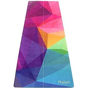 Plyopic Reise Yogamatte 3-in-1 Matte/Handtuch, Faltbar, rutschfest, Beidseitig nutzbar. Für jeden Yoga Stil, Pilates und Fitness. Natürlich und Umweltfreundlich. Gratis Tragegurt für Reisen