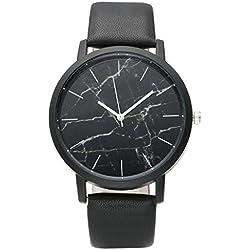 JSDDE Uhren,Fashion Cool Unisex Armbanduhr Marble Marmor Muster Armbanduhr PU Lederarmband Annalog Quarzuhr,Schwarz