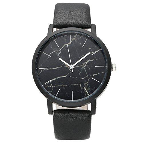 JSDDE, Fashion Cool-Bracciale unisex orologio Marble motivo marmo Orologio da polso PU Cinturino in pelle Annalog Orologio al Quarzo, colore: nero