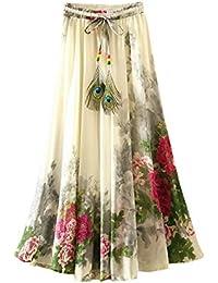 Mujeres Bohemio pintura china pluma de pavo real playa Fiesta partido maxi Largo Falda plisada Skirt