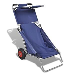 Vidaxl carrello da spiaggia con ruote portatile pieghevole for Carrello porta ombrellone e sdraio