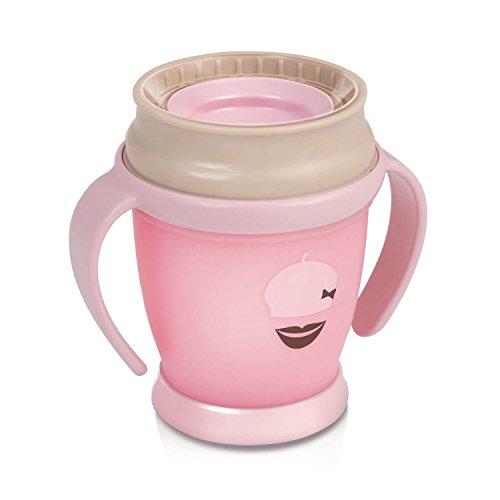Lovi 1/583new Trinkbecher 360° Mini Retro Baby, 9+ Monate, abdichtende Silikonscheibe, antibakterieller Schutz, 210 ml, rosa