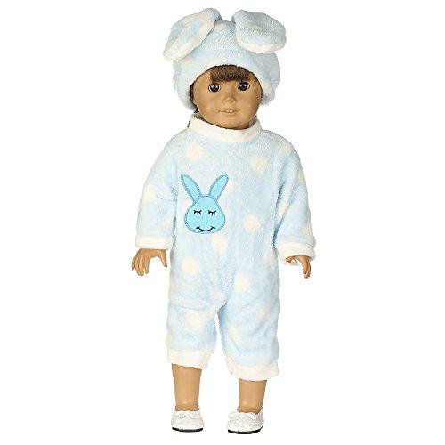 2 Piezas Sombrero de Conejo y Pijamas cómodos para 18 Pulgadas Americana Chica Muchacha Muñeca Gusspower