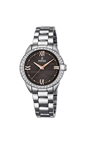 Festina MADEMOISELLE Women's Quartz Watch with Grey Dial Analogue Display and Silver Stainless Steel Bracelet F16919/2