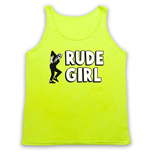 Rude Girl Jamaican Street Culture Slogan Tank-Top Weste Neon Gelb