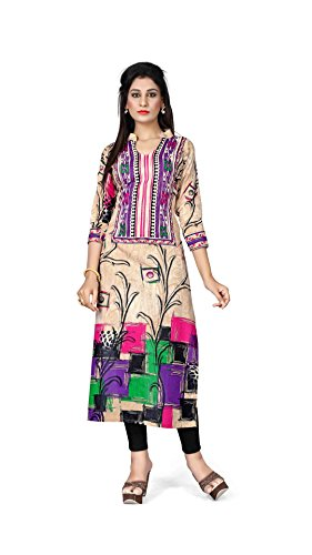 Nakoda Creation 3/4 sleeve Printed Chinese Neck Cotton Kurti for Women,Multicolor_1802(XXL)