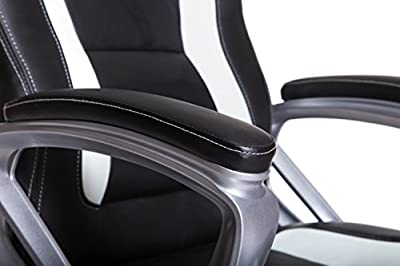 Brand New Designed Racing Sport Swivel Office chair in Black White Color - low-cost UK chair store.
