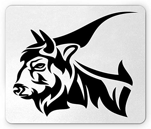 ASKSSD Bison Mouse Pad, Horned Animal Yak Mammal with Monochrome Design Wildlife Strength Illustration, Standard Size Rectangle Non-Slip Rubber Mousepad, Black and White -