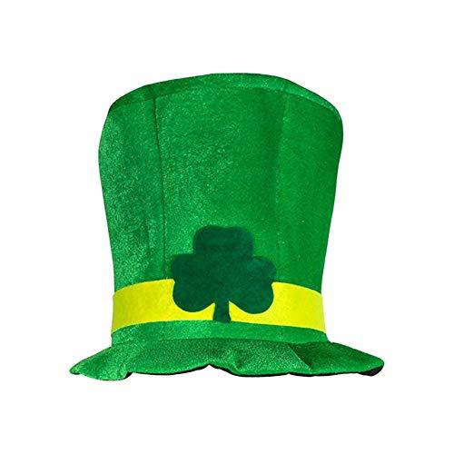 Muster Kostüm Das Kobold - Ouken Irish Shamrock Ofenrohrhut Green Velvet Zylinderhut St. Patrick Tagespartei-Kostüm Kobold-Hut