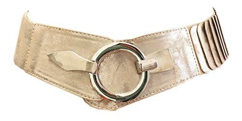 Unbekannt Damen Gürtel Leder Taillengürtel Hüftgürtel One Size Stretch Gürtel #SA-73 (Gold Schimmer)