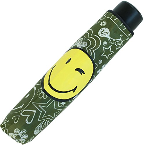 Smiley Mini Taschenschirm lustig bedruckt - Sketch - olive