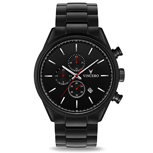 Vincero The Chrono S - Black/Red Steel