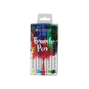 Ecoline Brush Pen Aquarellstifte, 5er Set im Etui