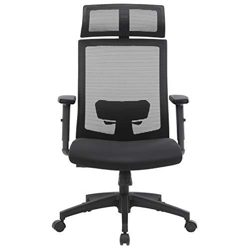 SONGMICS Fauteuil de bureau, Chaise de bureau en toile, Siège ergonomique, pivotant à 360°, support lombaire réglable, appui-tête, accoudoirs, inclinaison du...