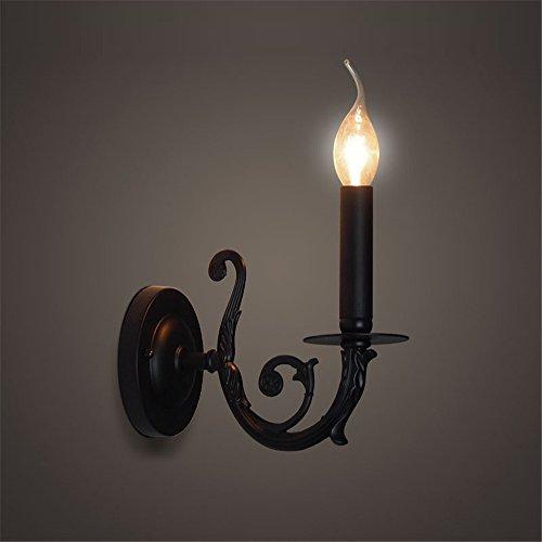 E14 Land Industrie Retro schwarz kerze Lampe Restaurant Living Zimmer Hotel Blue Fabric Lampenschirm zuhause Dekor Wand Leuchte,A