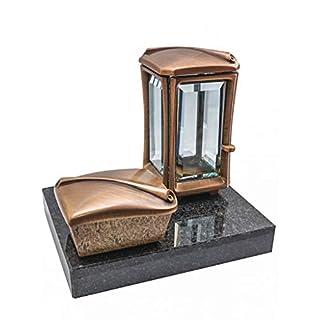 Kunst-Art-Köhl Grabkomposition Bestehend aus Einer Grablaterne 9468/19 mit Kessel aus Messing montiert auf Einem Granitsockel Black