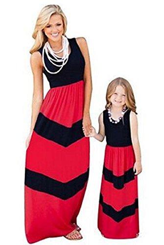 PICCOLI MONELLI Vestiti Uguali Mamma Figlia Abito Lungo Estivo Girocollo Smanicato Colore Rosso e Nero Bambina 5-6 Anni 115 cm