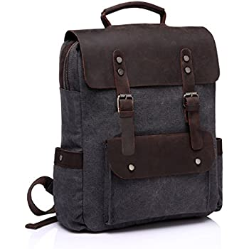 Vaschy Vintage Canvas Leather Backpack Campus Book Bag Outdoor Recreation Fits 15in Laptop Dark Grey