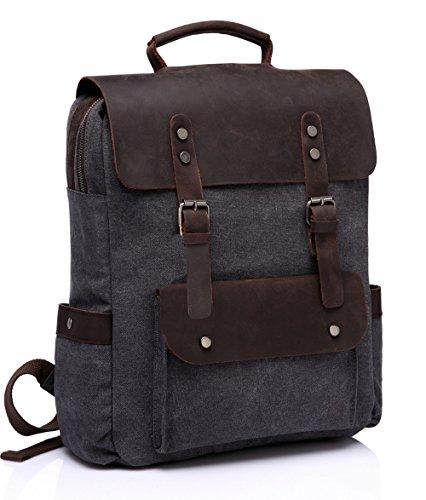 Rucksack Retro Vintage Leinwand Leder Rucksack für Studenten Unisex Campus oder Business Buch-Tasche Outdoor Erholung passt 15 Zoll Laptop von Vaschy Dunkel grau (Rucksack Seitentasche)