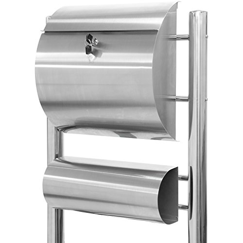 Hochwertiger V2A Edelstahl Standbriefkasten mit Zeitungsfach, 144 cm hoch, 8 kg