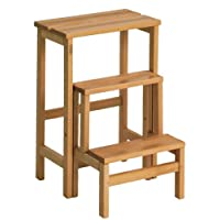 Valsecchi 156-12 Su and Giu 3 Steps Ladder Stool, Walnut, One Size