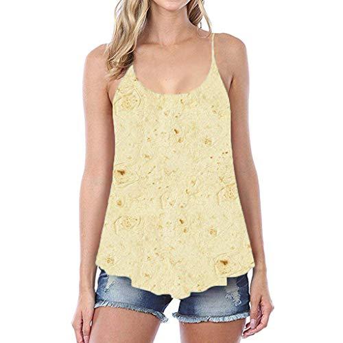 CAOQAO 2019 Sommer Bestes Design Das Neueste Element Mode LäSsig Tunika Damen Vintage Mexikanischer Pfannkuchen-Druck Party Damen Off Schulter Camisole(S,Yellow)