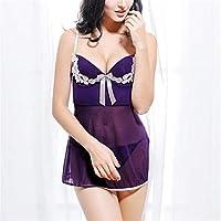 GIGIEroch Ropa de Dormir para Mujeres A través de la Ropa de Noche del Bowknot Ver Ajustable (Color : Púrpura, tamaño : Metro)
