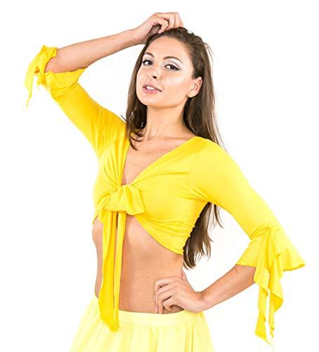 Bolero-Oberteil, Wickelbluse, Bauchtanzoberteil, Oberteil für orientalische Tänze, aus Lycra, df0009, gelb, S/M (Orientale Danse Kostüm)