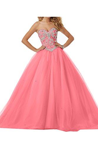 Ivydressing Damen Romantisch Herzform Hochzeitskleider Steine Abendkleid Promkleid Ballkleider Wassermelone