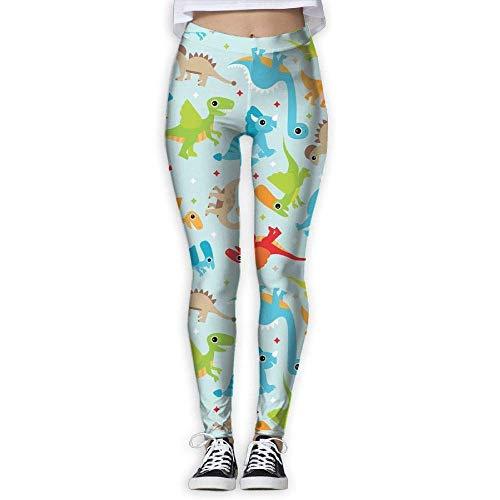 Nicegift Fun Colorful Dinosaur Womens Yoga Capris Power Flex Running Pants Workout Leggings X-Large