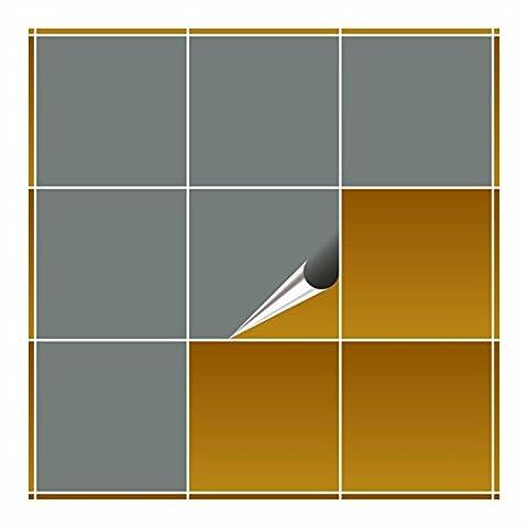 FoLIESEN Carrelage Adhésif pour cuisine et salle de bain–Gris brillant–20x 20cm–Lot de 20