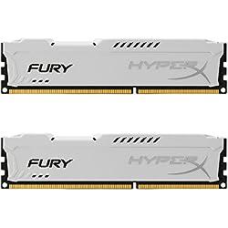 Kingston HyperX Fury - Memoria RAM DDR-III, Bianco, 8 GB, confezione da 2 x 4 GB