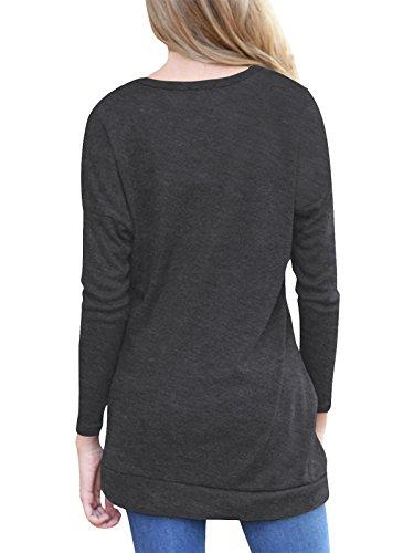 Langarm T-shirt Damen Rundhals Casual Oberteile,einfarbig,Baumwolle,mit Knöpfe Schwarz