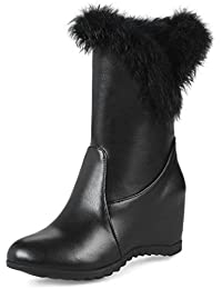 RAZAMAZA Damen Klassische Niedrige Stiefel mit Fransen Black Size 34 Asian SZwQK08