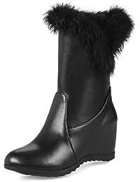 RAZAMAZA Damen Klassische Niedrige Stiefel mit Fransen Black Size 34 Asian