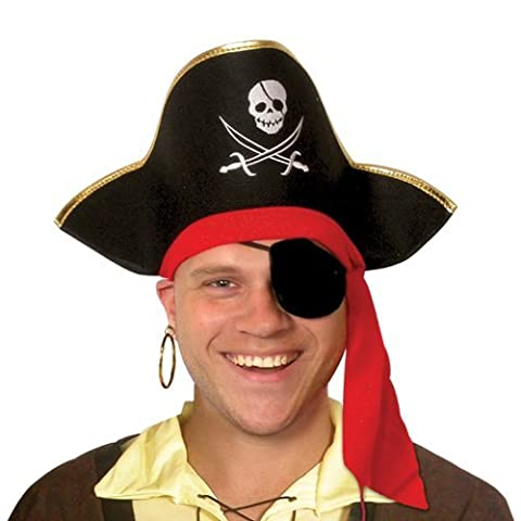 Hat Adult Pirate With Gold Edge And Red Tie Trim for Fancy Dress Party Accessory by Pams
