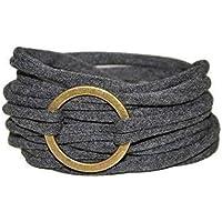 Wickelarmband in anthrazit mit bronzefarbenem Ring