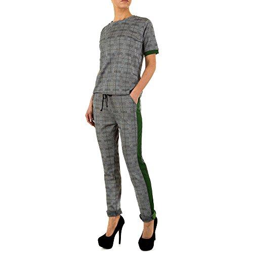 Ital-Design Karierter Kontraststreifen Anzug Für Damen, Grün In Gr. L/Xl (Damen Anzug Design)