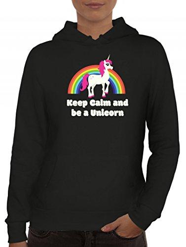 Einhorn Damen Kapuzenpullover mit Rainbow - Keep Calm And Be A Unicorn Motiv von ShirtStreet Schwarz