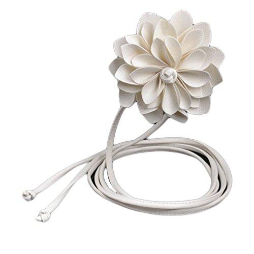 Vovotrade Dama de la moda tejido elastico cinturon ancho cinturon Bohemia ( blanco)
