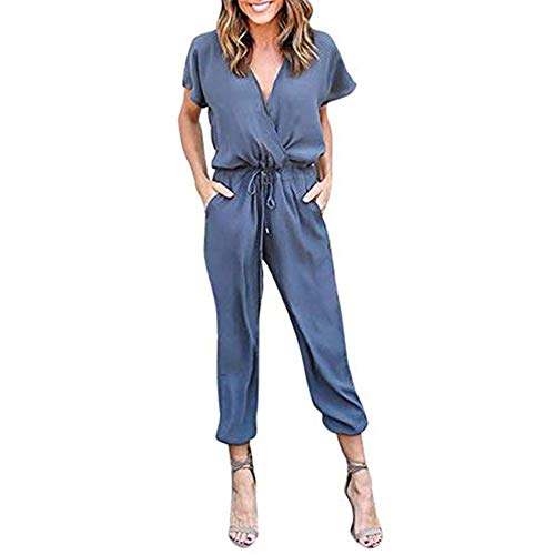 Likarulla Jumpsuit Donna?Tuta Donna Elegante Estivi Tute Tutine da Sera Spiaggia Lunga V Scollo Manica Corta Tulle Jumpsuit Business Party Casual Chiffon Maniche Corte Playsuits(Blu-m)