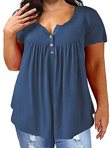 KISSMODA Dunkelblaue Hemden für Frauen Tunika Tops Kurzarm V-Ausschnitt Bluse 2X - Spandex-v-neck Tunika