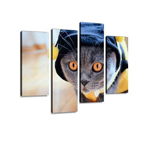 ner Biene Kostüm Leinwand Wandkunst hängen Gemälde Moderne Kunstwerke abstraktes Bild Drucke Dekoration Geschenk einzigartig gestaltet gerahmt 4 Panel ()
