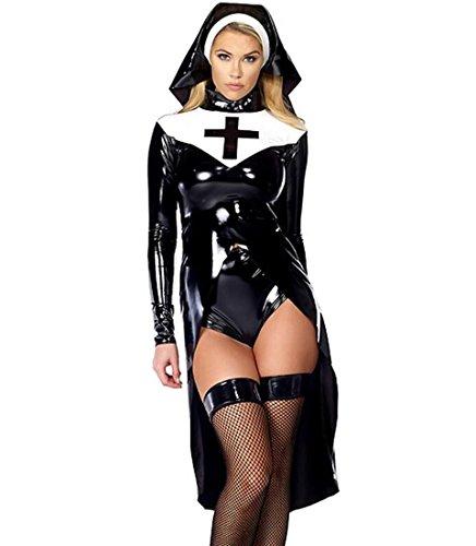 HAOBAO Frauen reizvolle Kunstleder Nonnen-Kostüm Halloween Cosplay Abendkleid-Set/Party Stage Kleidung, - Schwarze Witwe Kostüm Bild